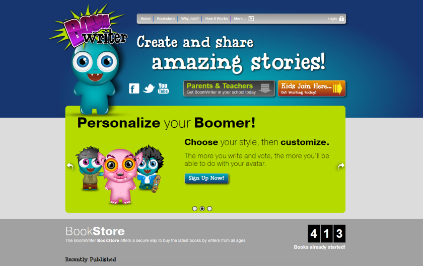 Boomwriter.com homepage screenshot